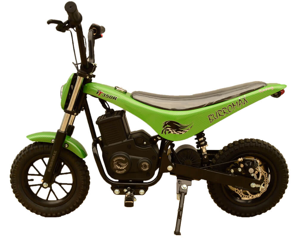 Electric Minibike, TT350R Lithium Ion Powered, (Color: Green Carbon Fiber)