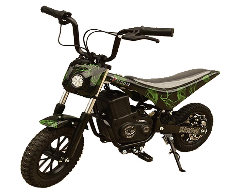 Electric Minibike, TT350R Lithium Ion Powered, (Color: Green Skull)