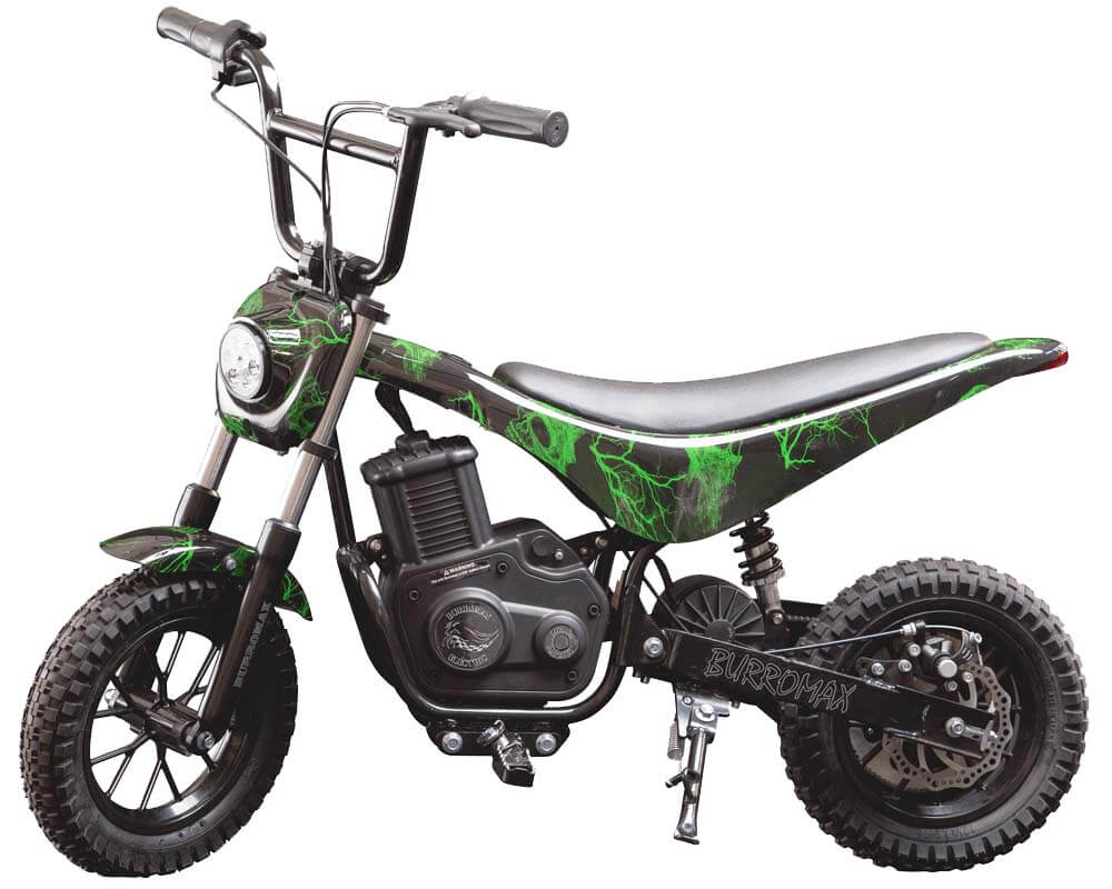 Electric Mini bike, TT350R Lithium Ion Powered, (Color: Green Skull)