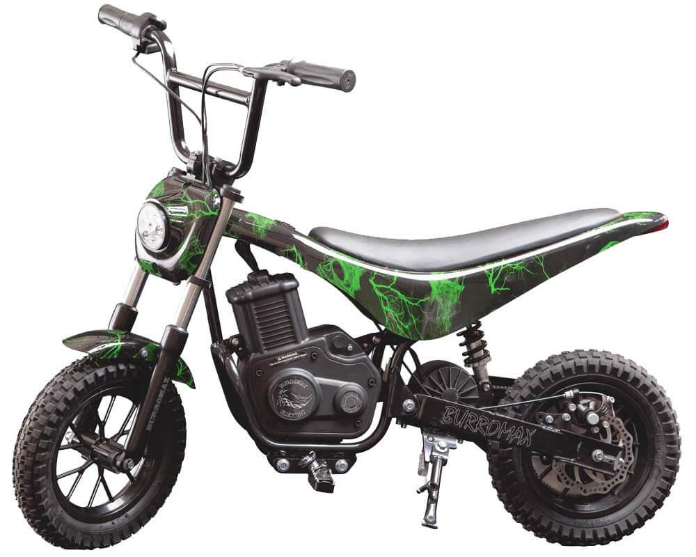 Electric Mini bike, TT350R Lithium Ion Powered, (Color: Green Skull)