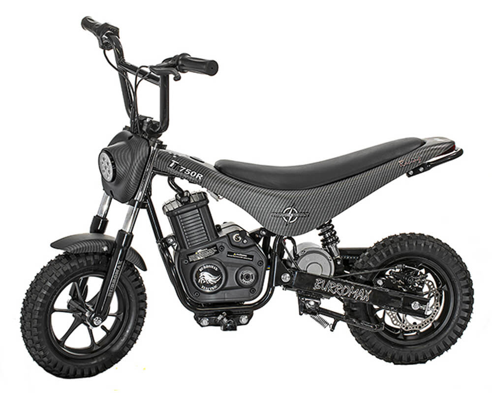 Electric Mini bike, TT750R Lithium Ion Powered, (Color: Matte Black Carbon Fiber)