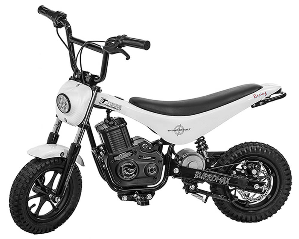 Electric Mini bike, TT750R Lithium Ion Powered, (Color: White Carbon Fiber)